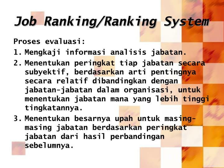 Job Ranking/Ranking System