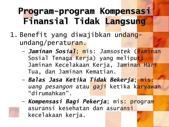 Program-program Kompensasi Finansial Tidak Langsung