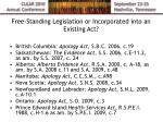 free standing legislation or incorporated into an existing act