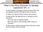 what is the policy rationale for apology legislation pt 1