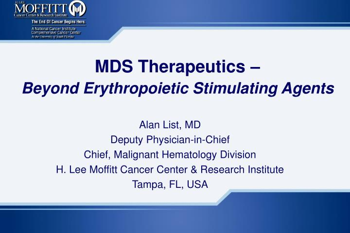 mds therapeutics beyond erythropoietic stimulating agents n.