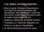 les dates correspondantes