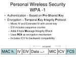 personal wireless security wpa 1