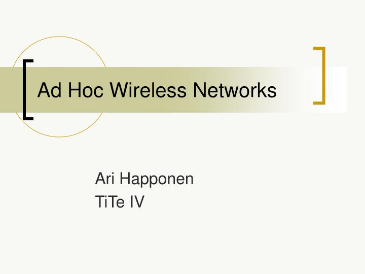 ad hoc wireless networks n.