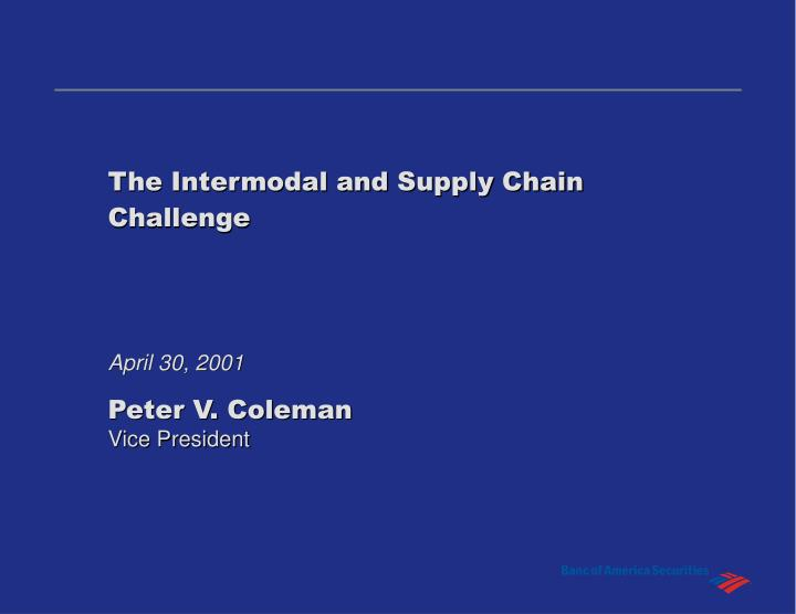 the intermodal and supply chain challenge n.
