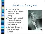 arteries to aneurysms