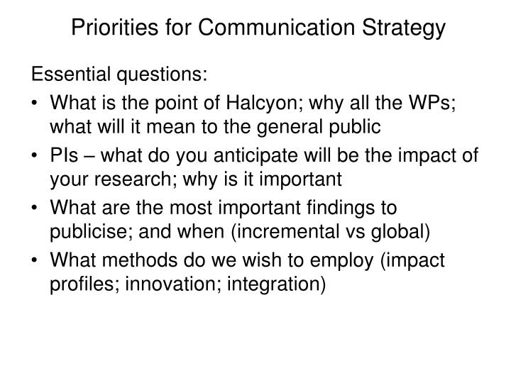 Priorities for Communication Strategy