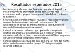 resultados esperados 2015