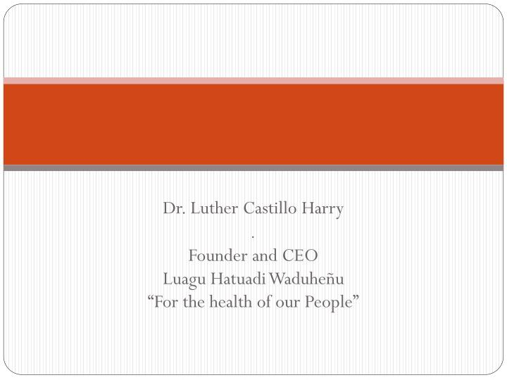 dr luther castillo harry founder and ceo luagu hatuadi waduhe u for the health of our people n.