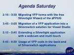 agenda saturday