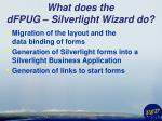 what does the dfpug silverlight wizard do