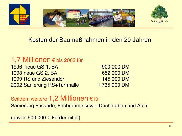 Kosten der Baumaßnahmen in den 20 Jahren