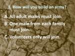 1 how will you build an army