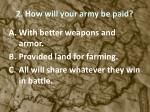 2 how will your army be paid