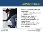 lost stolen radios