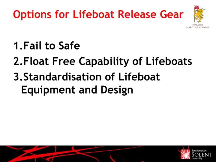 Options for Lifeboat Release Gear