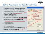define parameters for transfer in hystar