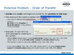 potential problem order of transfer