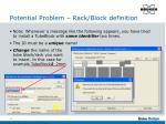 potential problem rack block definition