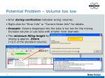 potential problem volume too low