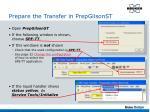 prepare the transfer in prepgilsonst