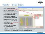 transfer create orders
