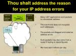 thou shalt address the reason for your ip address errors