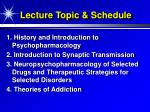 lecture topic schedule