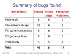 summary of bugs found
