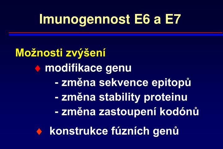 Imunogennost E6 a E7