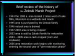 brief review of the history of the zeloski marsh project