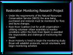 restoration monitoring research project