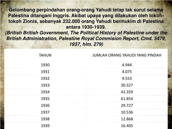 Gelombang perpindahan orang-orang Yahudi tetap tak surut selama Palestina ditangani Inggris. Akibat upaya yang dilakukan oleh tokoh-tokoh Zionis, sebanyak 232.000 orang Yahudi bermukim di Palestina antara 1930-1939.