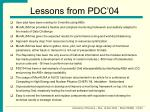 lessons from pdc 04