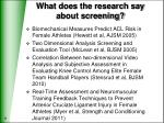 what does the research say about screening