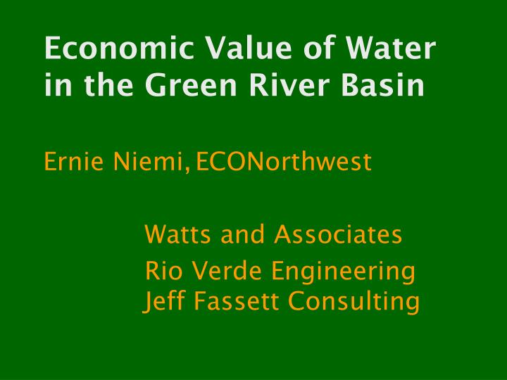 economic value of water in the green river basin n.