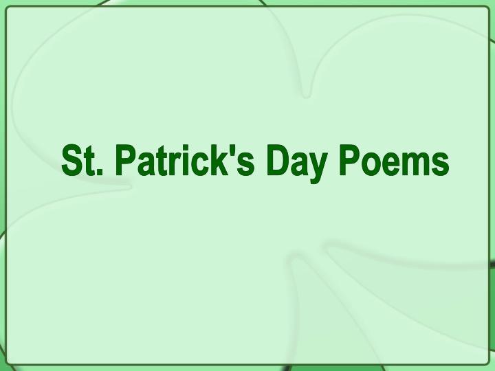 St. Patrick's Day Poems