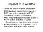 capabilities in wcdma