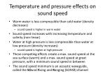 temperature and pressure effects on sound speed