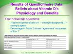 results of questionnaire data beliefs about vitamin d s physiology and benefits