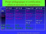 projet p dagogique et certification effets et niveaux de comp tence