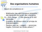des organisations humaines