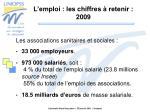 l emploi les chiffres retenir 2009