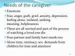 needs of the caregiver
