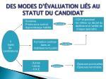 des modes d valuation li s au statut du candidat