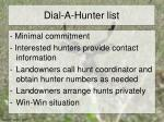 dial a hunter list
