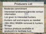 producers list