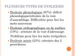 plusieurs types de dyslexies