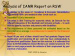 analysis of iamr report on rsw