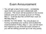 exam announcement